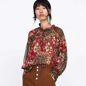 NWOT Zara Size XS Patchwork Red Floral Blouse